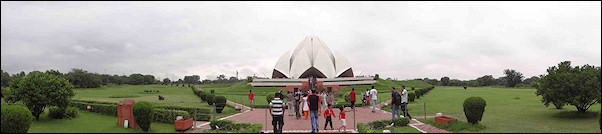India, Delhi - Panoramic view of the Lotus temple