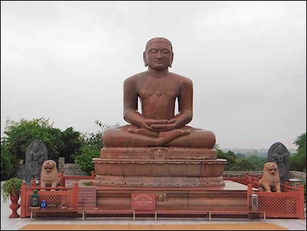 India, Delhi - Statue of Lord Mahavira at Ahimsa Sthal