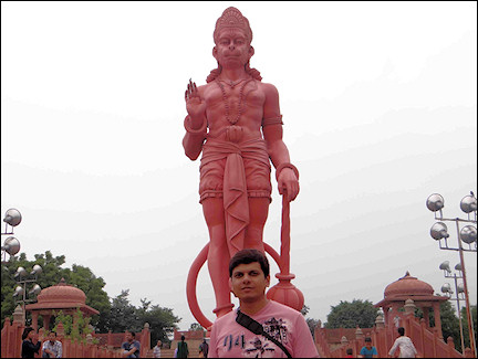 India, Delhi - Red statue of Lord Hanuman