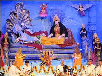 India, Delhi - Devotees gathered in devotional songs for lord Krishna