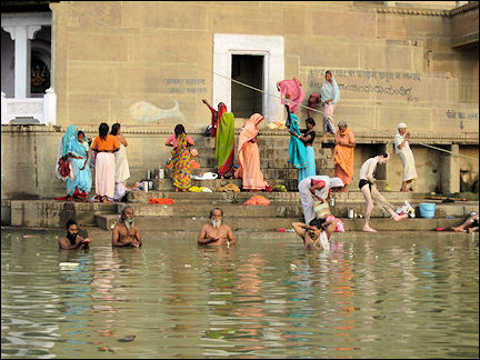 India - Varanasi, bathing and washing in the Ganges