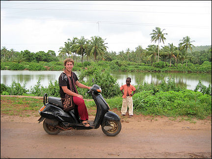 India - Goa, on scooters in a jungle-like area
