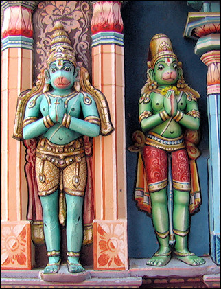 India, Trichy - Srirangam temple, monkey deities statues