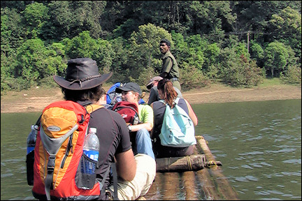 India, Thekkady - On a raft for the trekking in Periyar National Park