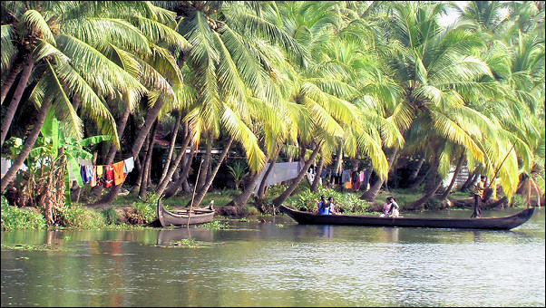 India, Backwaters - The population lives on and in the water