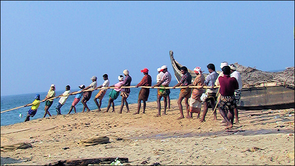 India, Kovalam - Fishnets are pulled in with long ropes