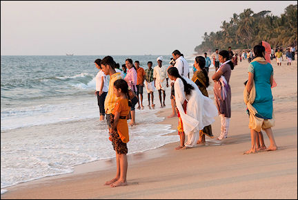 India, Tamil Nadu - Allephuza, beach with local population