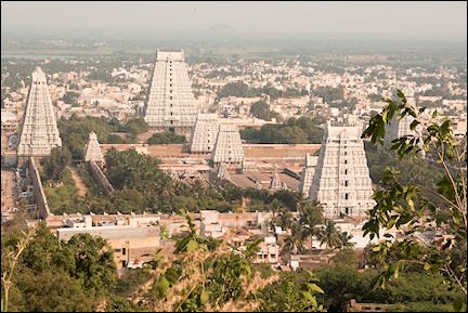 India, Tamil Nadu - Tiruvannamalai, bird's eye view temple complex