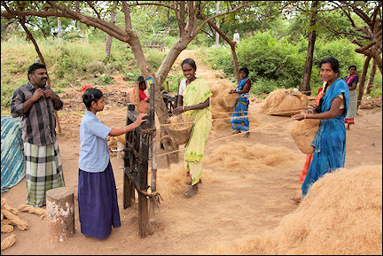 India, Tamil Nadu - Women make rope from coconut fibre
