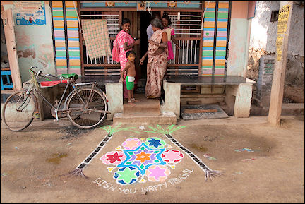 India, Tamil Nadu - Sidewalk decoration for Pongal