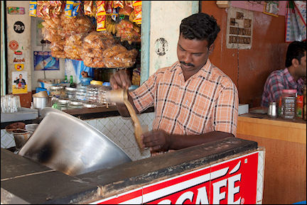 India, Kerala and Karnataka - Mammalapuram, making coffee