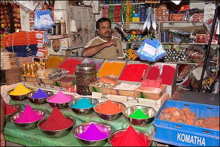 India, Kerala and Karnataka - Mysore, market stall with dyes
