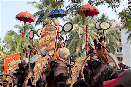 India, Kerala and Karnataka - Guruvayoor, dancers on elephants during the temple festival