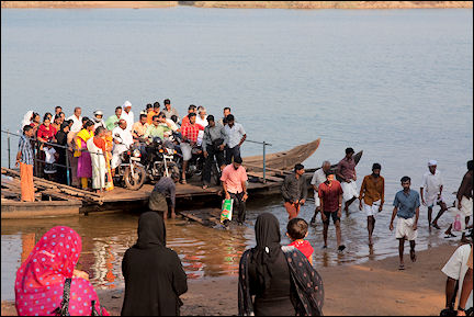 India, Kerala and Karnataka - Ponnani, the ferry is a collection of planks laid crosswise over two narrow boats