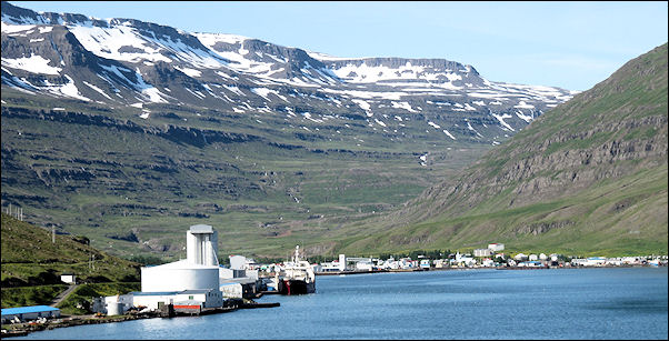 Iceland - View of the port of Seydisfjordur