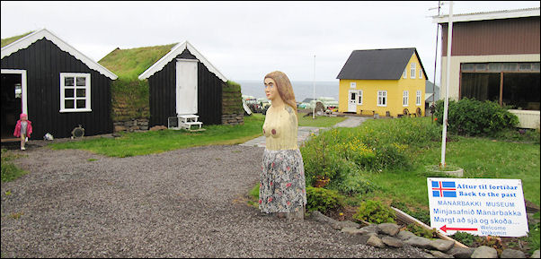 Iceland - Manarbakki, folk art museum and old wooden peet houses
