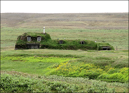 Iceland - Saenautasel, peet-farmhouse with grass roof