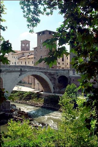 Italy, Rome - Tiber island, from the bank