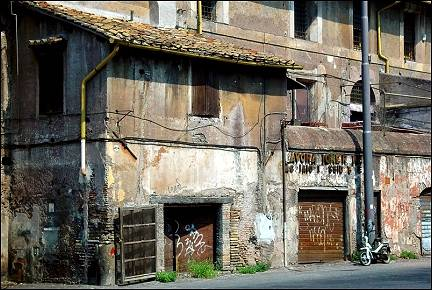 Italy, Rome - Delapidated houses along Circus Maximus