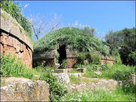Italy, Rome - Cerveteri, Etruscan burial mound