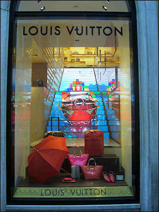 Italy, Rome - Shop window Louis Vuitton in Via Condotti