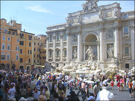 Italy, Rome - Crowds around the Trevi fountain
