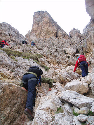Italy, Dolomites - Climbing to the Gardena Pass peak of Cir Spitz