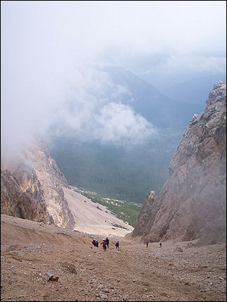 Italy, Dolomites - Sliding down the mountain side