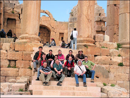 Jordan - Jerash, travel company on the stairs of the Artemis temple