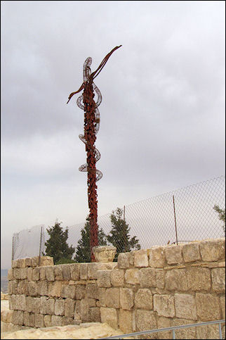 Jordan, Mount Nebo - Artist's impression of Moses' staff