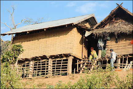 Laos - Spending the night in a bamboo hut on stilts in a Khmu village