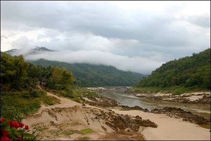Laos - Fog in the mountains along the Mekong