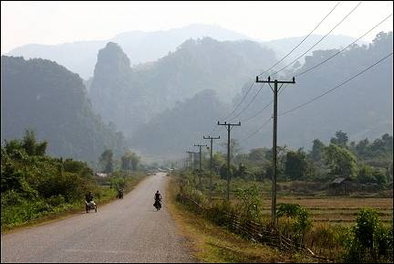Laos - Vang Vieng, landscape with karst mountains