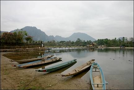 Laos - Vang Vieng, walk bridge over river