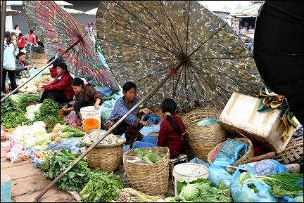 Laos - Vientiane, parasols in the market