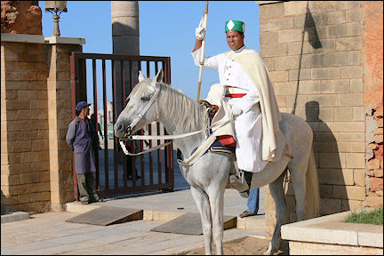 Morocco - Rabat, guard at Mohammed V mausoleum