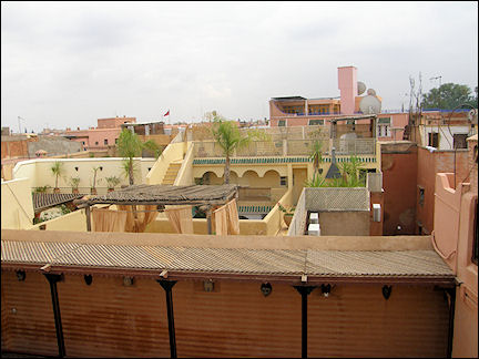 Morocco, Marrakech - Yellow, pink, and terra-cotta houses