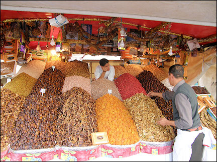 Morocco, Marrakech - Dates, figs and dried apricots on Jemaa el-Fna