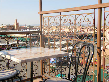Morocco, Marrakech - Outdoor seating with view of Jemaa el-Fna