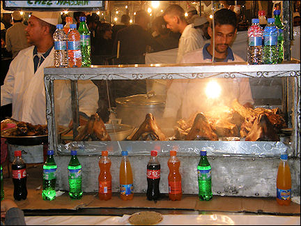Morocco, Marrakech - Night market on Jemaa el-Fna