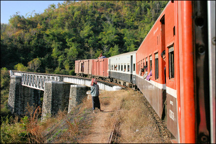 Myanmar - Train from Thazi to Kalaw at a bridge