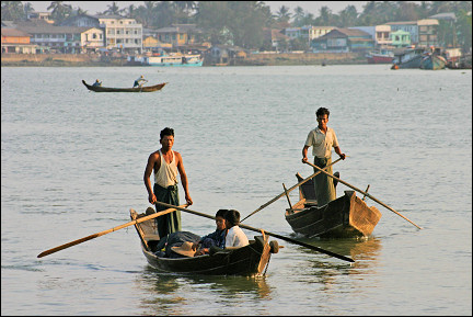 Myanmar, Pathein - Boats on the river