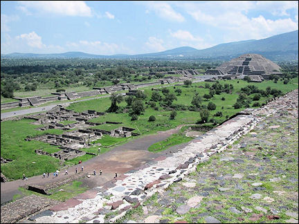 Mexico, Mexico City - View from the Pyramid of the Sun in Teotihuacan