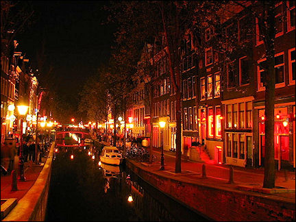 Netherlands, Amsterdam - Amsterdam's famous Red Light District at night
