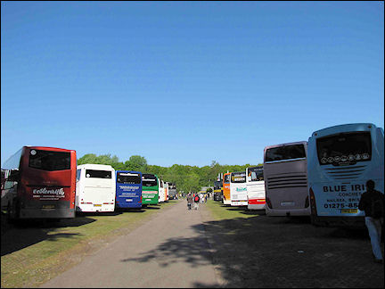 Netherlands, Amsterdam - Busses from practically every European country parked outside Keukenhof