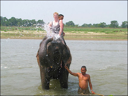 Nepal - Chitwan National Park, elephant washing itself and the author