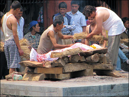 Nepal - Bhaktapur, cremation by the Bagmathi river