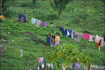 Panama - Children by clothes lines