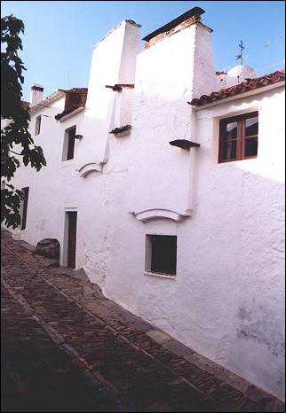 Portugal, Alentejo - Monsaraz, huge Moorish chimneys