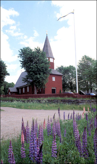 Sweden - Church with lupine